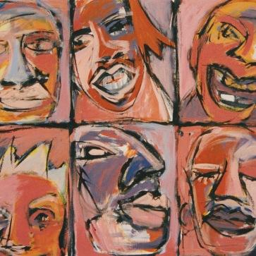 6 Köpfe I l 140 x 120 cm l Acryl auf Leinwand I 1992
