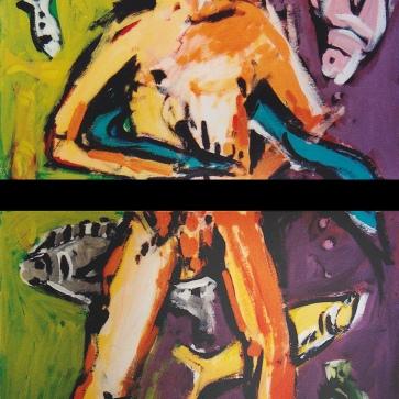 Fishmann l je 100 x 70 cm l Acryl auf Karton I 1990