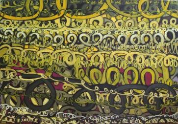 Gelb-Schlingen l 190 x 130 cm l Acryl auf Leinwand I 2013