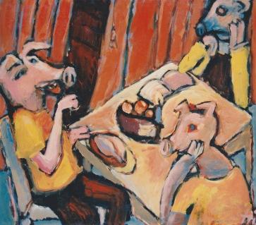Schweinegesellschaft l 160 x 140 cm l Acryl auf Leinwand I 1997