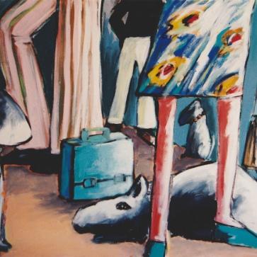 Warten 130 x 95 cm l Acryl auf Leinwand I 1995