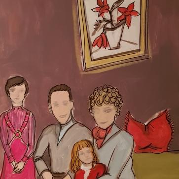 Family in the sixties I 70 x 100 cm I Acryl und Edding auf Karton I 2019