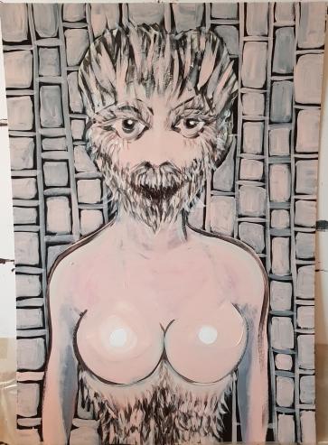 Hairy Beauty I 70 x 100 cm I Acryl auf Karton I 2019