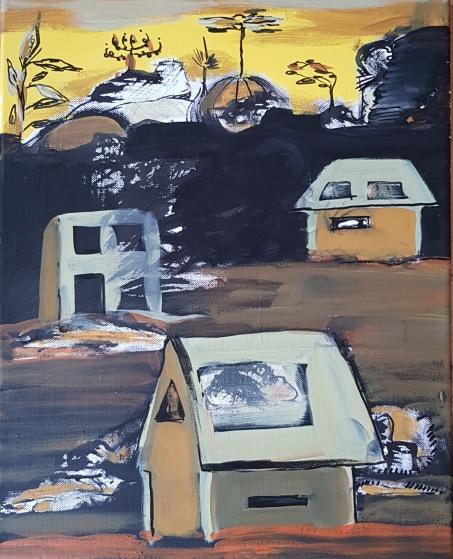 Strange Houses I 40 x 50 cm I Acryl und Edding auf Leinwand I 2019