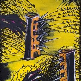 Game of towers I 40 x 50 cm I Acryl und Edding auf Leinwand I 2019