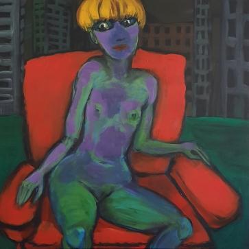 Der rote Sessel I 100 x 100 cm I Acryl auf Leinwand I 2020