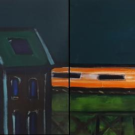 ghost train I 2x 79 x 60 cm I Acryl auf Leinwand I 2021