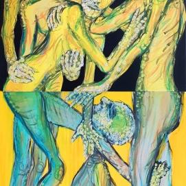 Ober- & Unterwelt I 100 x 200 cm, 2-teilig I Acryl & Edding auf Leinwand I 2018
